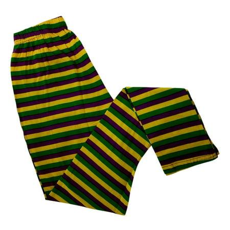 Ladies Stripe Purple Green Yellow Mardi Gras S/M Legging Soft Knit