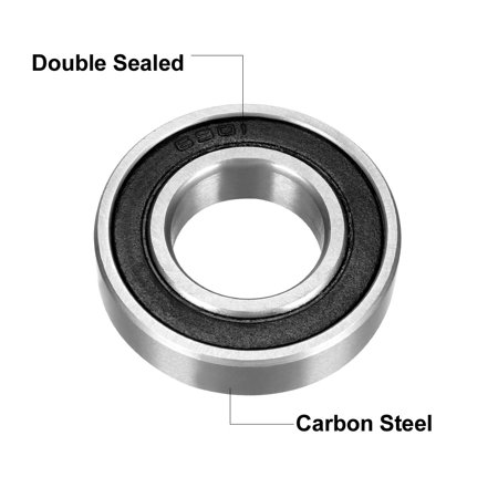 Deep Groove Ball Bearing 6901-2RS Double Sealed 12mmx24mmx6mm Carbon Steel 8Pcs - image 3 of 4
