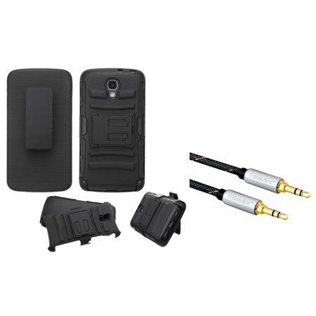 Insten Dual Hybrid Case with Holster For LG Volt - Black (+3.5mm Aux Auxiliary Audio Stereo Extension M/M Cable)