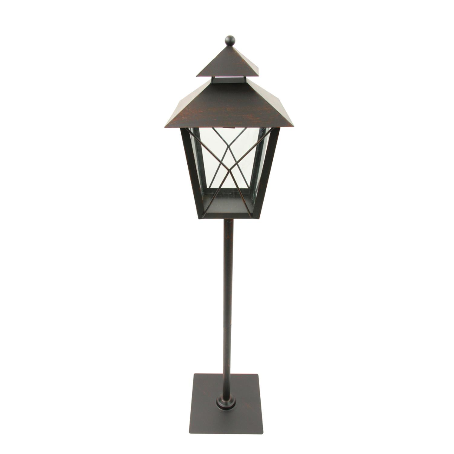 """34"""" Black and Rust Red Brushed Metal Holiday Pillar Candle Lantern Christmas Decoration by Northlight"""