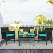 Costway 4PCS Patio Rattan Furniture Set Cushioned Sofa Coffee Table Backyard Porch Red