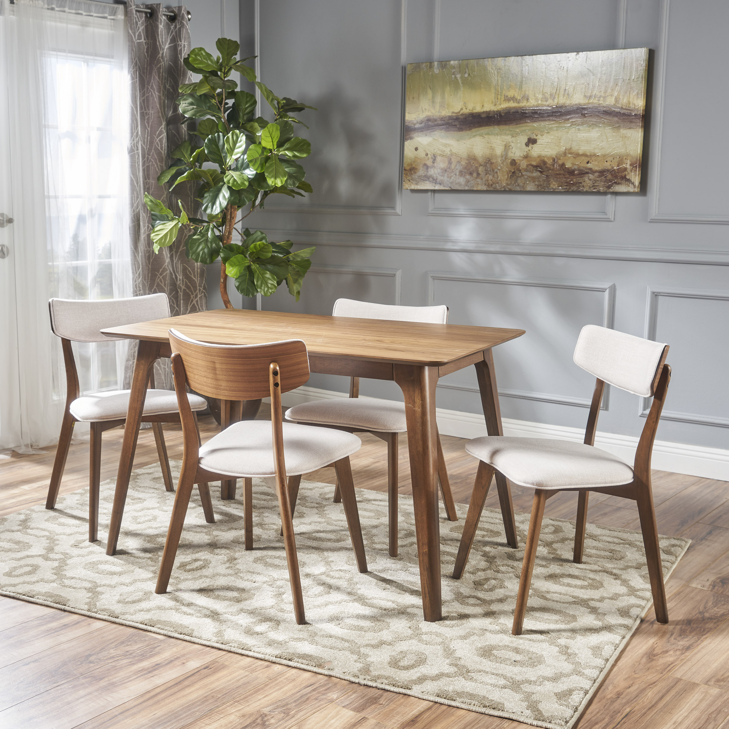 Noble House Alexa Mid Century Natural Walnut Wood Light Beige 5 Piece Dining Set