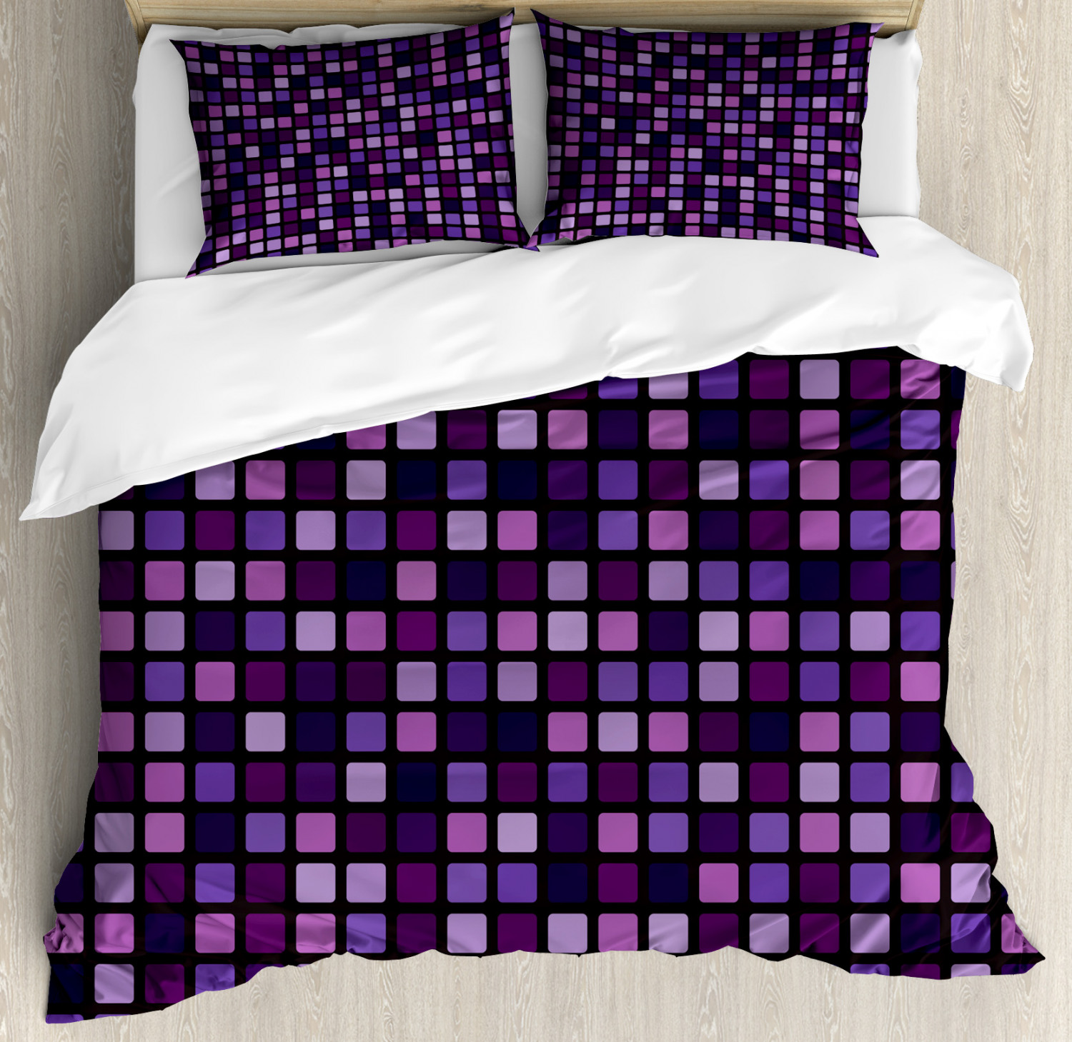 Grid Duvet Cover Set Queen Size Geometric Beveled Square Mosaic Tiles Pattern With Vibrant Contrast Tones Of Purple Decorative 3 Piece Bedding Set With 2 Pillow Shams Multicolor By Ambesonne Walmart Com