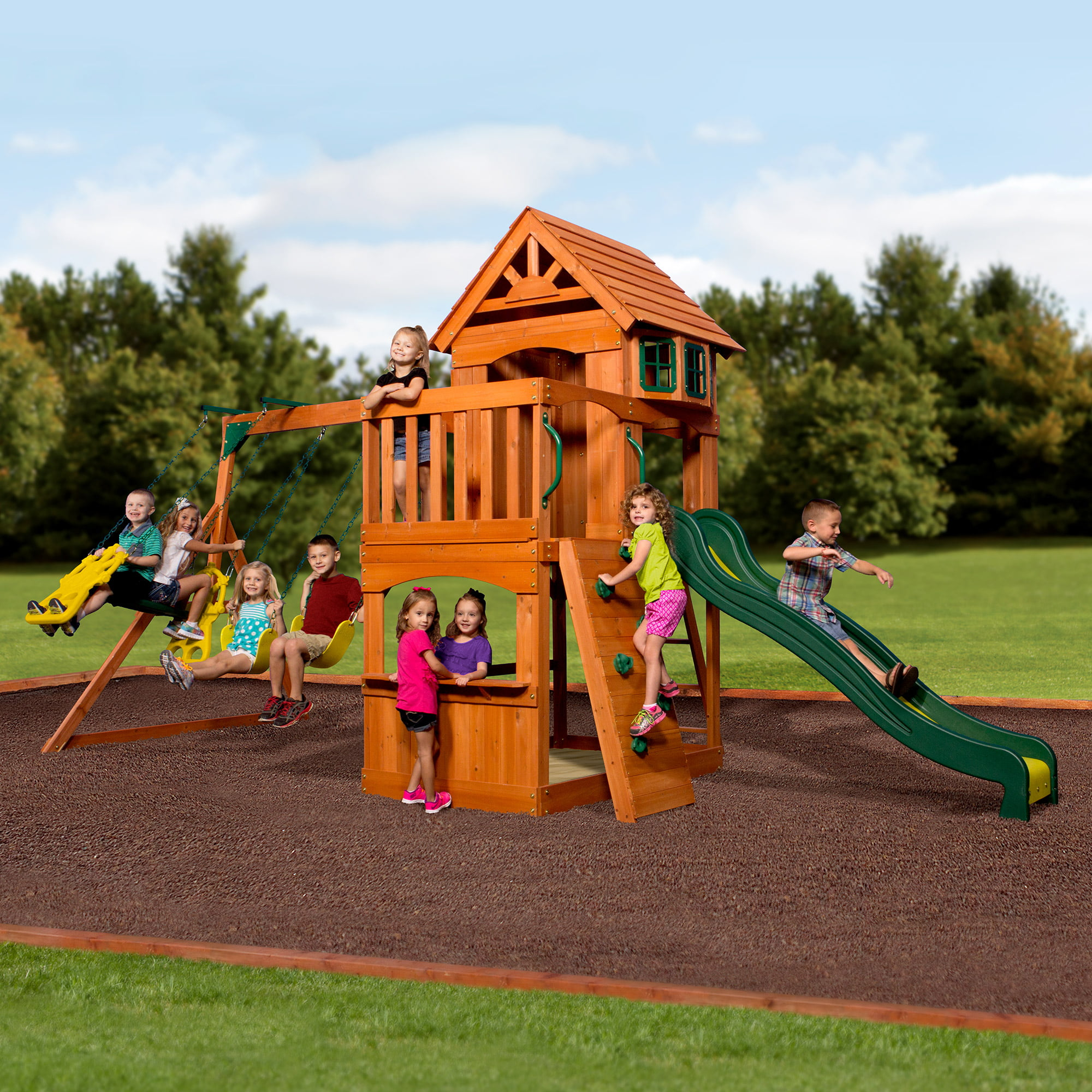 backyard all free toys cedar stained swing wood discovery monticello set somerset sports product