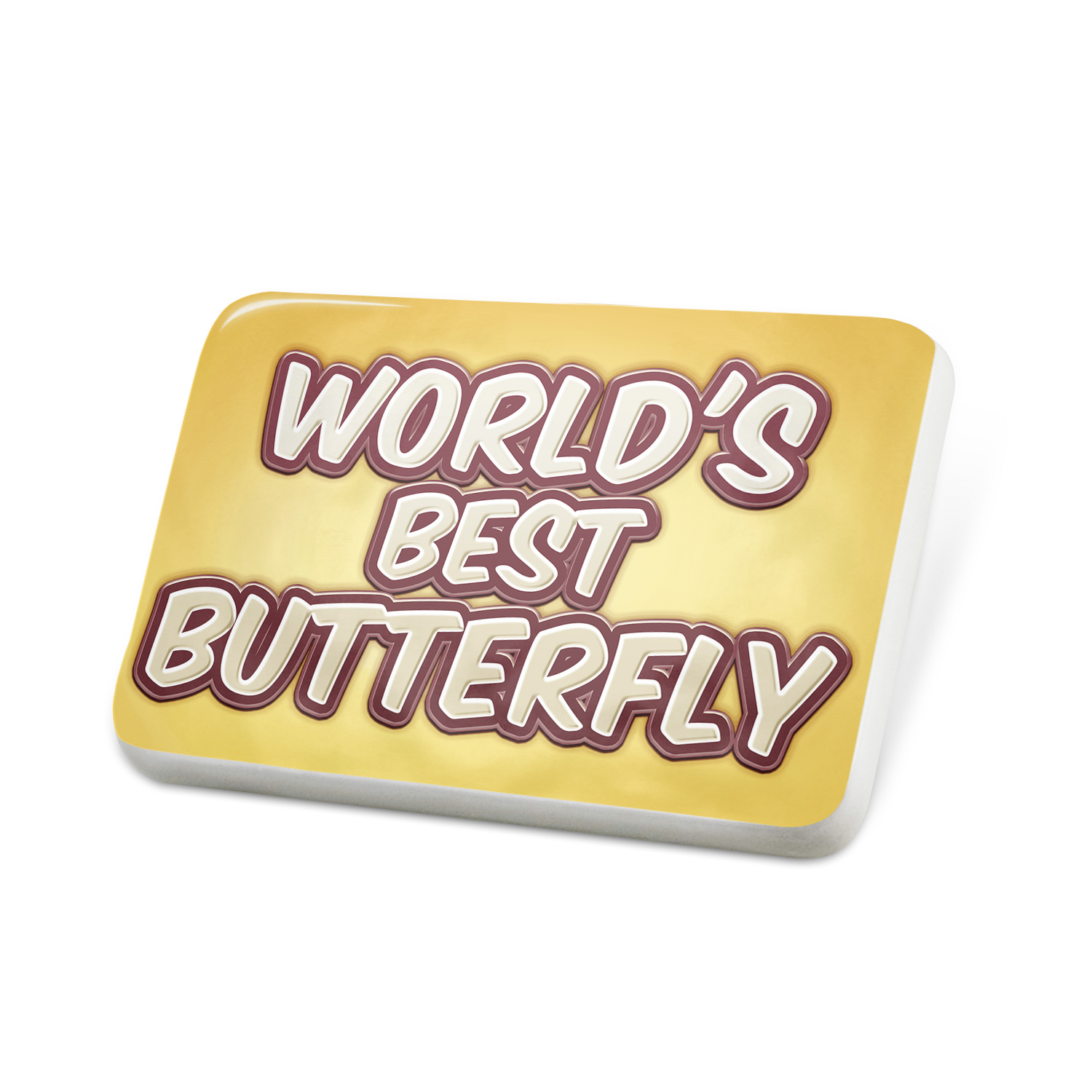 Porcelein Pin Worlds best Butterfly, happy yellow Lapel Badge � NEONBLOND by NEONBLOND