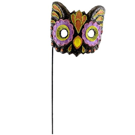 Halloween GLITTERED MASK Paper Mache Cat Bird HC322029 OWL - G-a-y Halloween London