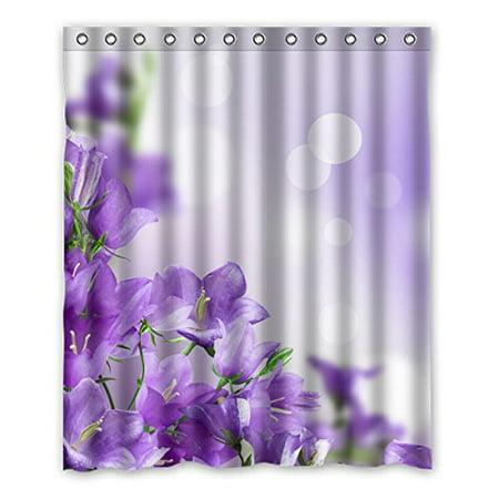 GreenDecor Bougainvillea Purple Elegant Waterproof Shower Curtain Set with Hooks Bathroom Accessories Size 60x72 inches ()