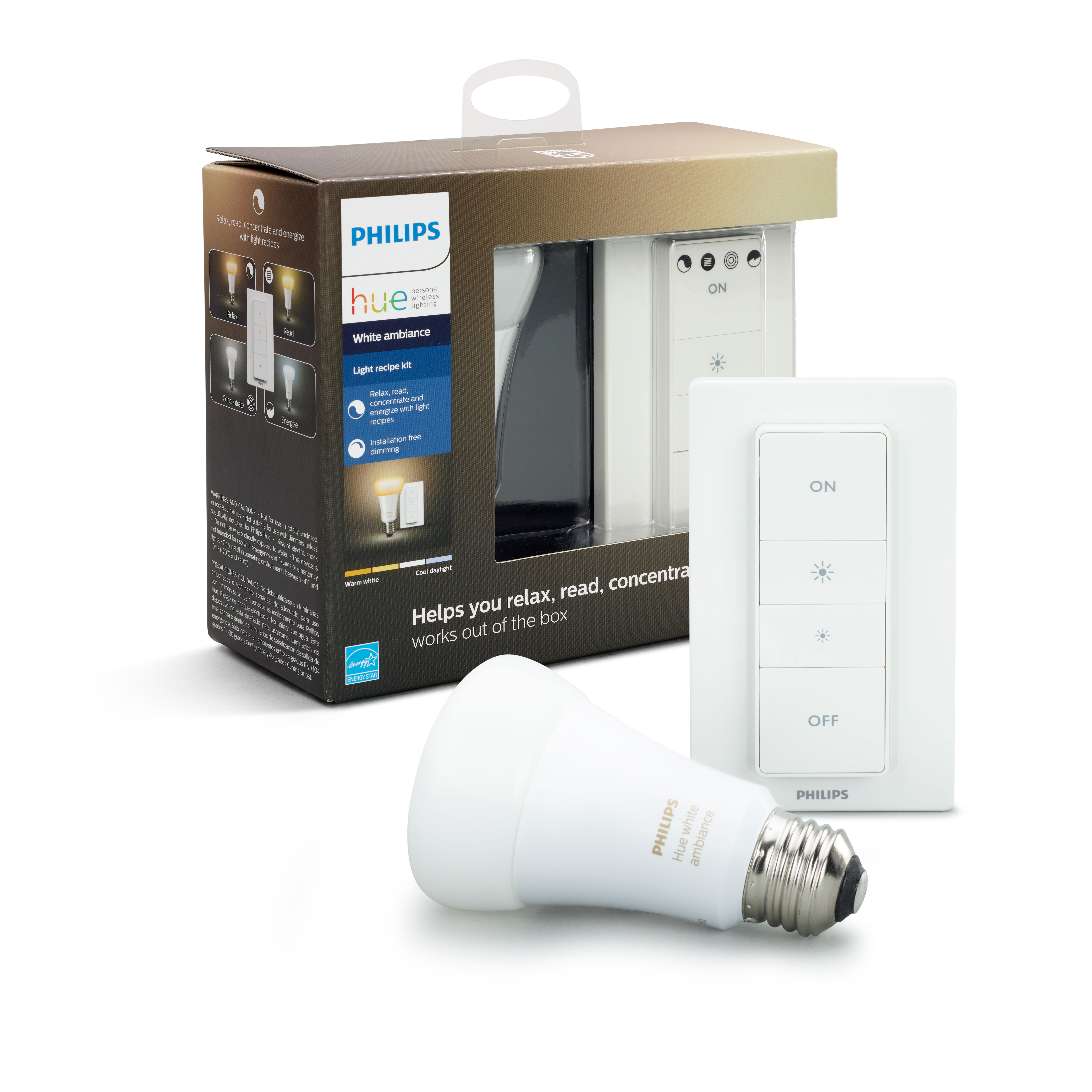 Philips Hue White Ambiance Smart A19 Light Kit, 60W Equivalent, Hub Required, 1 Bulb