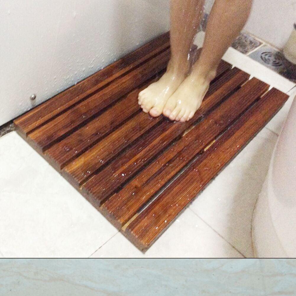 Teak Bath Mat Non Slip SPA Mat Bathroom Door Mat Anti-Mildew Mold 21 x 14 x 1.2