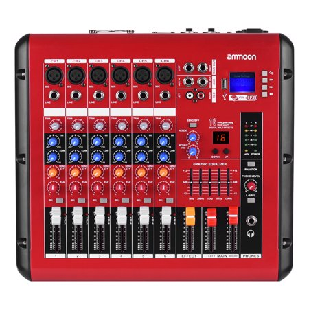 ammoon PMR606 6-Channel Digital Audio Mixer Mixing Console with Power Amplifier Function 48V Phantom Power USB Interface for Recording DJ Stage