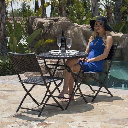 Belleze Rattan Wicker 3-Piece Folding Outdoor Bistro Set ()