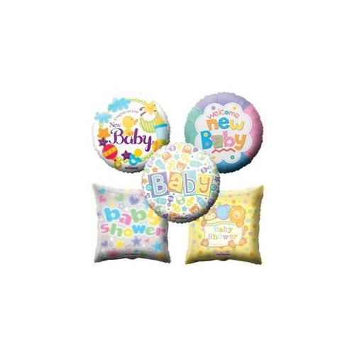 Deluxe Import Trading 61-BSHR. 51 18 inch  Baby Shower Balloon Mix Mylar - 100 Packs