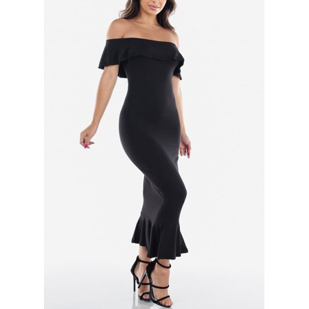 Womens Juniors Sexy Party Cocktail Evening Tight Fit Strapless Bodycon Mermaid Ruffled Solid Black Below Knee Slim Fit Pencil Dress 40622Y