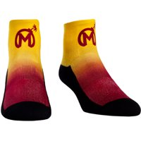 Florida Mayhem Rock Em Socks Women's Dip Dye Quarter-Length Socks - Yellow/Red - S/M