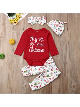 【LNCDIS】Kid Baby Girl Letter Long Sleeve Romper Pants Outfit Hairband Cap Christmas Xmas