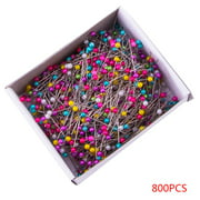 800 Pcs Multicolor Pearl Bead Handmade Needlework Sewing Crafts Ball Head Stainless Steel Pins Box