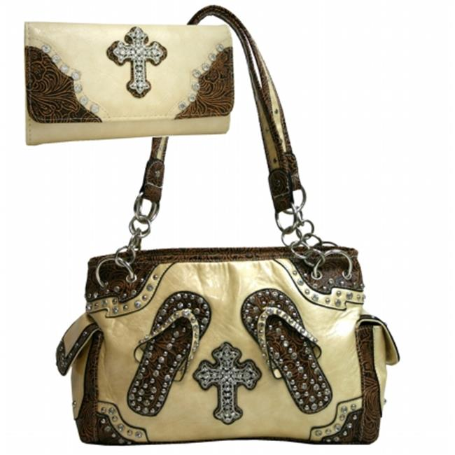 Ritz Enterprises CRL003WC005Set-BG Western Bling Rhinestone Handbag Cross Accent Purse With Matching Wallet - Beige