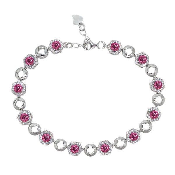 5.69 Ct Round Pink Tourmaline 925 Sterling Silver Bracelet by