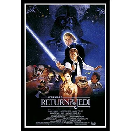 Framed Star Wars Return Of The Jedi 36X24 Movie Art Print Poster Harrison Ford Mark Hamill Carrie Fisher Billy Dee Williams George Lucas