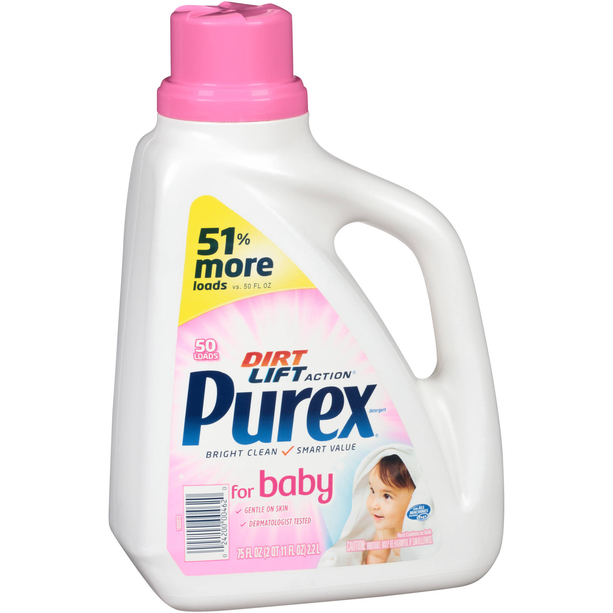 Purex Dirt Lift Action Liquid Laundry Detergent for Baby, 50 loads, 75 fl oz