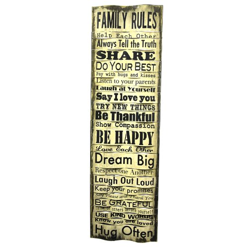 River Cottage Gardens Family Rules Textual Art Plaque