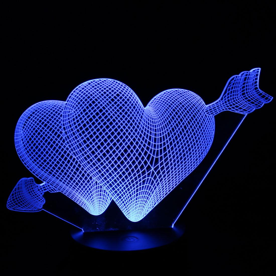 DC 5V Cupid Arrow 3D Acrylic LED Night Light 7 Color Change Desk Table Lamp - image 1 of 7