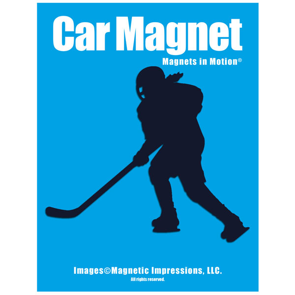Ice Hockey Player Female Car Magnet Green by
