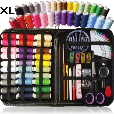 SEWING KIT, Over 100 XL Quality Sewing Supplies, 30 XL Spools of Thread, XL sewing kit for DIY, Beginners, Emergency, Kids, Camping, Travel, students, dorm and home