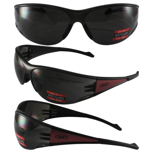 Global Vision Full Throttle Glasses (Red Frame/Smoke Lens)