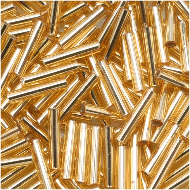Toho Bugle Tube Beads Size #3 2x9mm Silver Lined Medium Topaz 10 Grams