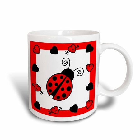 3dRose Love Bugs Red Ladybug with Hearts, Ceramic Mug, 15-ounce