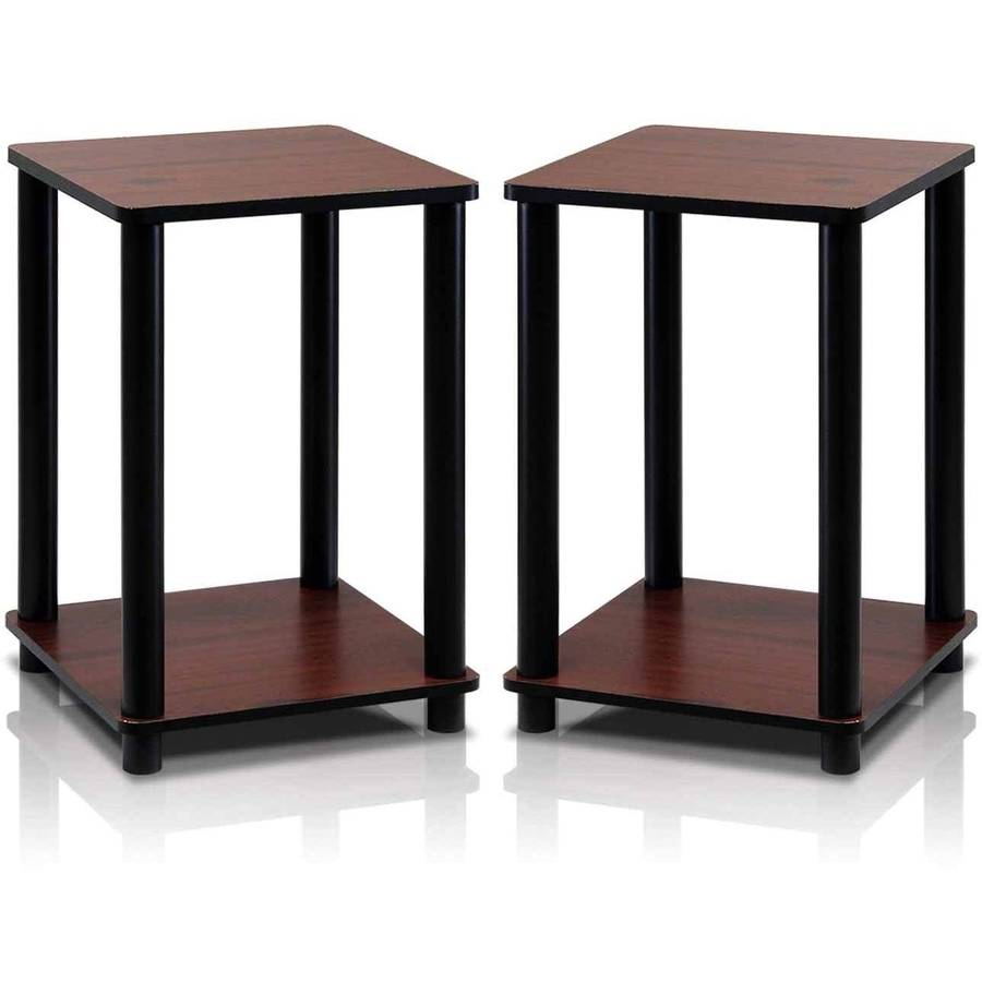 Furinno Turn-N-Tube End Table Corner Shelves, Dark Cherry/Black, Set of 2