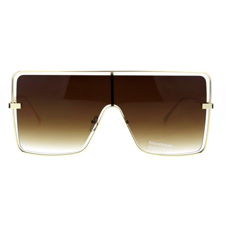 Hip Hop Hard Oversize Shield Exposed Lens Retro Sunglasses Gold Gradient (Sunglasses Hip Hop Style)