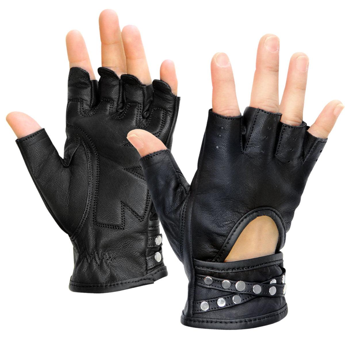 Xelement XG461 Idol Womens Black Fingerless Leather Gloves
