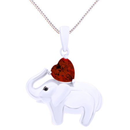 Valentine's Day Elephant Pendant Necklace Heart Shaped Simulated Garnet CZ 14K White Gold Over Sterling