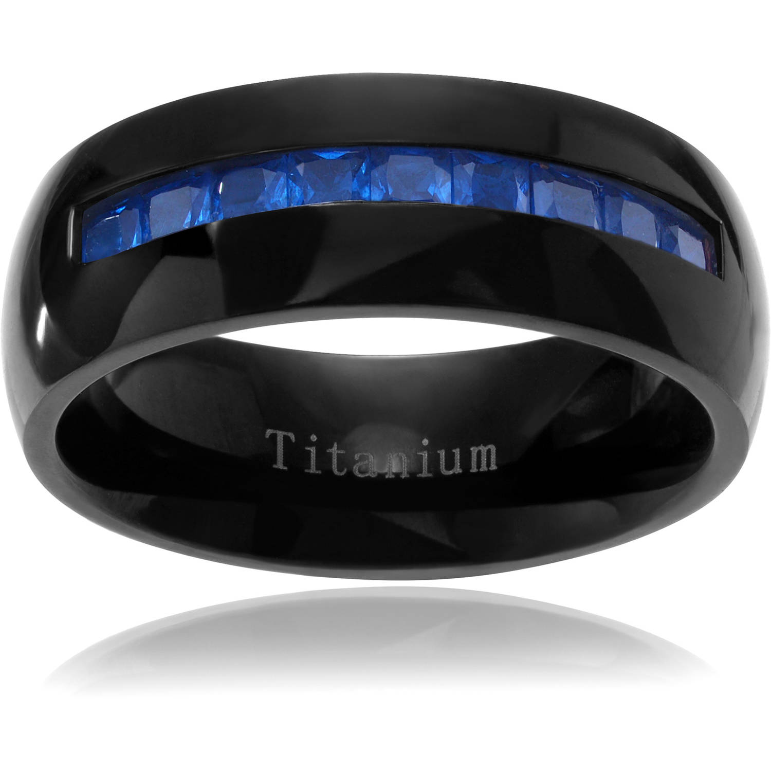 Daxx Men's CZ Inlay Titanium Wedding Ring, 8mm, Blue
