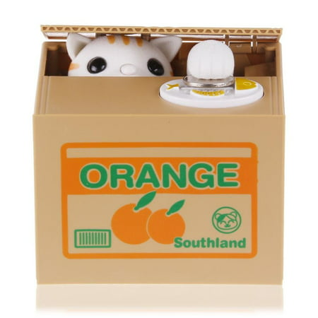 Saving Coin Bank Piggy Bank Funny Kitty Cat Stealing Money to Orange Box Toy Gift