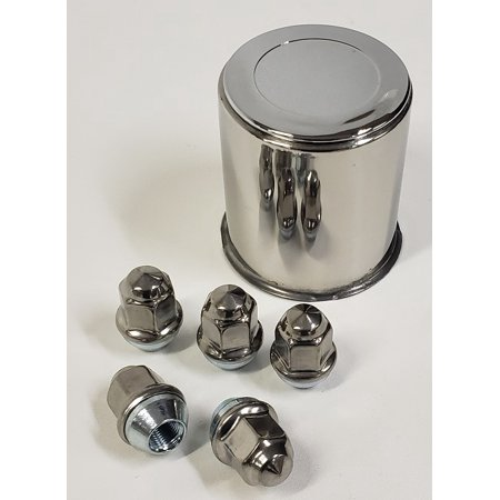 Trailer Wheel Lug and Cap Set. Stainless Steel Hub Cover 5 SS Lugs 3.19in Center (Trailer Wheel Hub Cover)