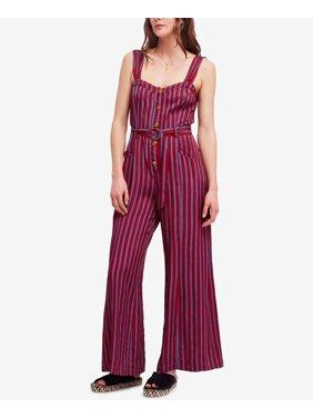 Women's Buttoned Striped Wide Leg Jumpsuit 10