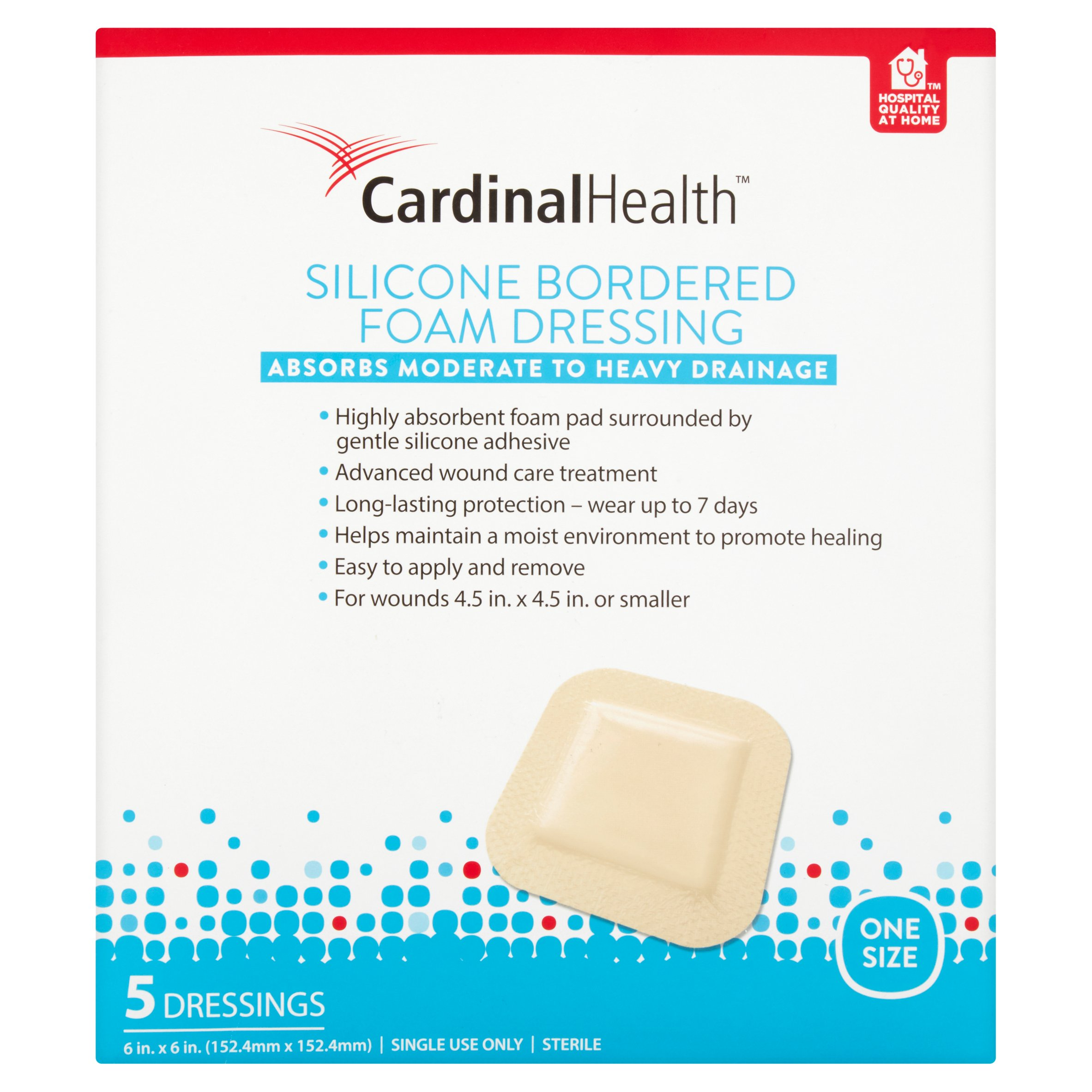 Cardinal Health One Size Silicone Bordered Foam Dressings, 5 count