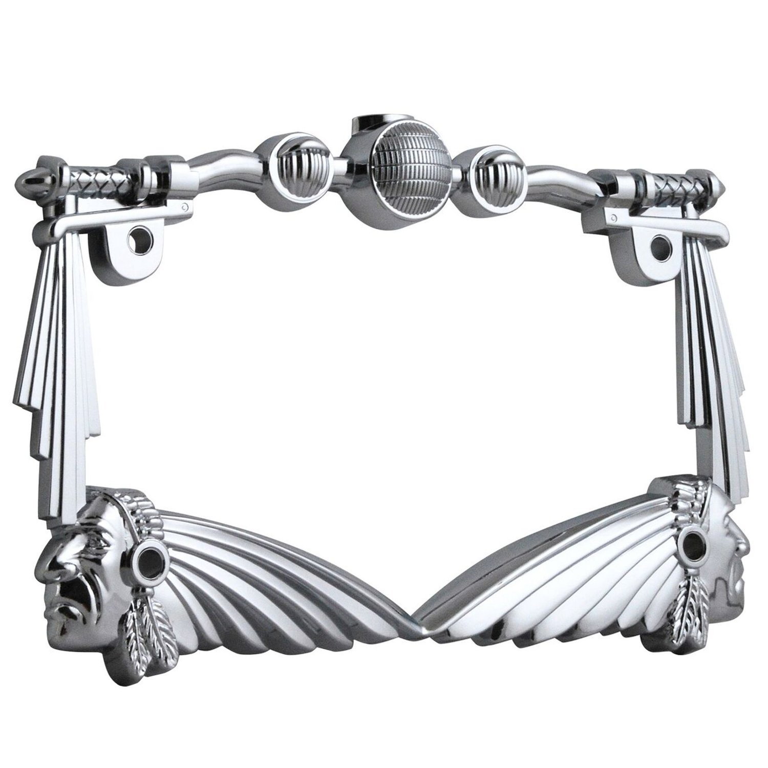 Universal 3D Indian Chief Handle Bar Chrome Motorcycle License Plate Frame
