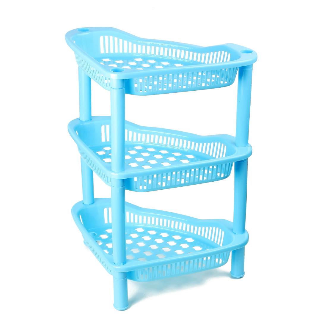 Home Bathroom Kitchen Blue Plastic 3 Layers Shelf Corner Storage Rack