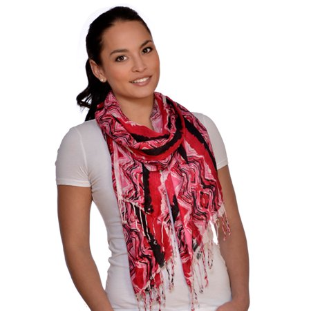 (Amtal Women Red Black White Abstract Design Lightweight Soft Scarf w/Tassels)