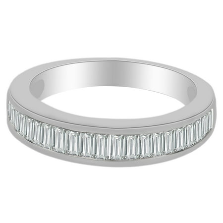 0.75 Ct Baguette Cut White Natural Diamond Anniversary Band Ring in 14k White