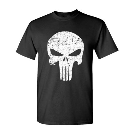 DISTRESSED PUNISHER SKULL mercenary liberty - Cotton Unisex T-Shirt (Punisher Shirt)