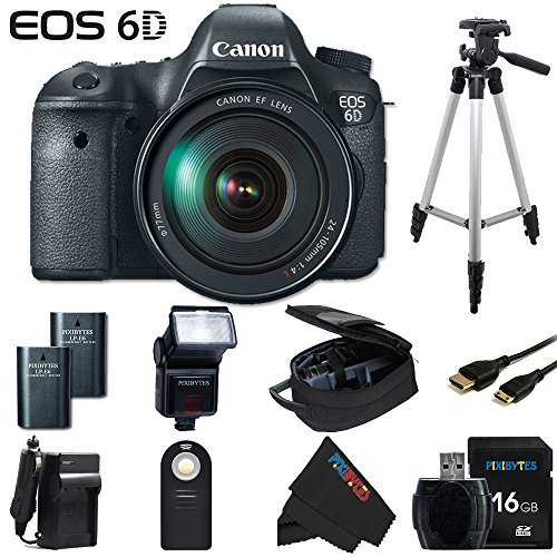 Canon EOS 6D 20.2 MP CMOS Digital SLR Camera with 3.0-Inch LCD and EF 24-105mm IS USM Lens + Pixi-Basic Accessory Bundle