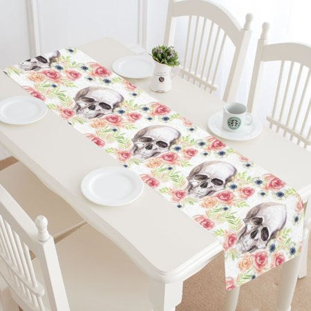 MKHERT Watercolor Floral Sugar Skull Roses Table Runner Home Decor for Home Kitchen Dining Wedding Party 16x72 Inch