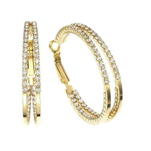 Isla Simone   - 40mm Two Row inside out Earring with Crystal