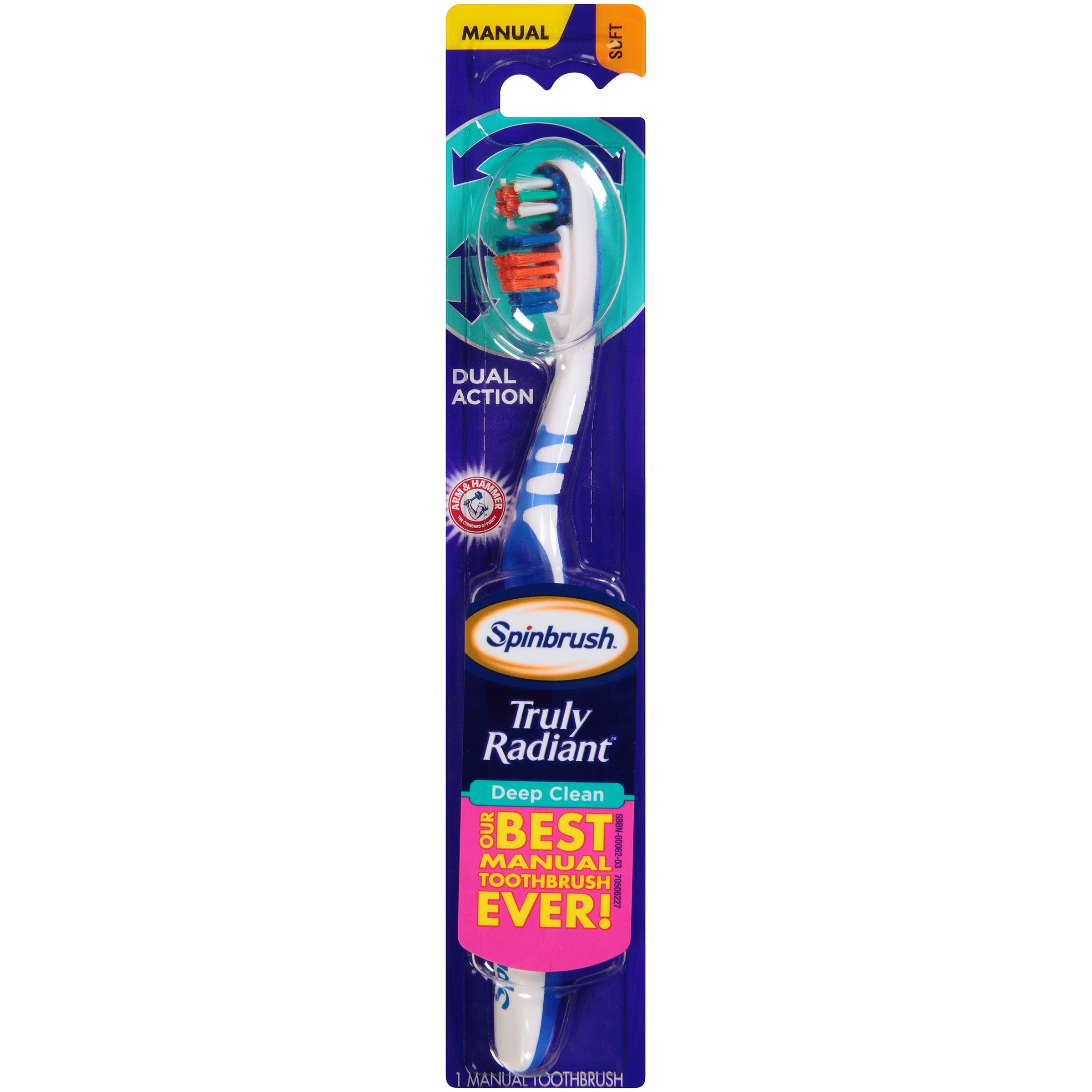 (3 Pack) Arm & Hammer™ Spinbrush™ Truly Radiant™ Deep Clean Soft Manual Toothbrush Carded Pack
