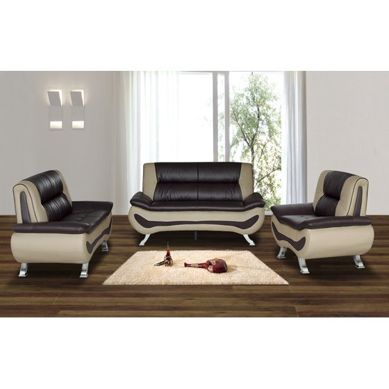 Isbella 3 Pc Brown And Beige Faux Leather Modern Living Room Sofa Set Coffee Table Not Included